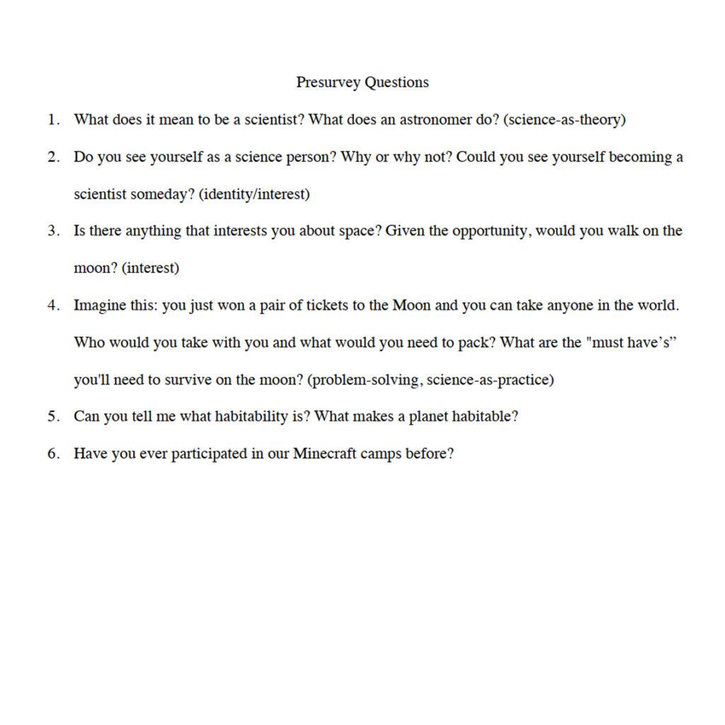 Pre-Survey Questions